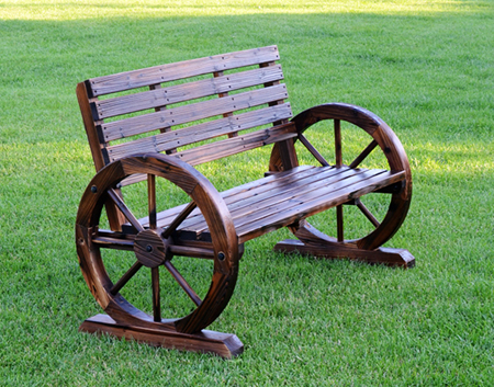 wood wagon wheel bench
