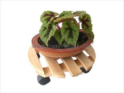 round wooden planter cart