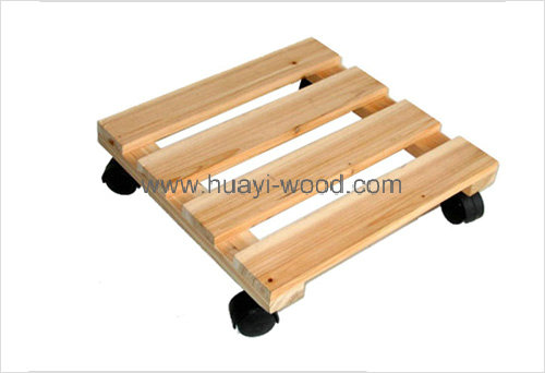 square wooden planter cart