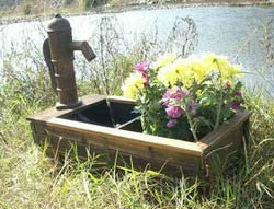 wooden barrel fountains